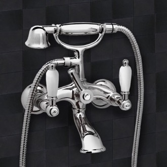 Tub Filler Bathtub Mixer With Flexible Hose and Hand Shower and Bracket Remer LR02US