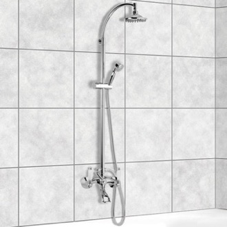 Exposed Pipe Shower Wall-Mounted Bathtub Mixer With Sliding Rail and Diverter Remer LR09US