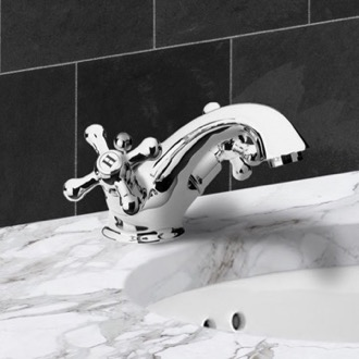 Bathroom Faucet Chrome Deck Mount One Hole Washbasin Mixer With Pop-Up Waste Remer LI13US