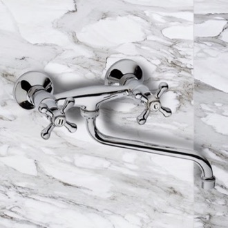 Chrome Wall Mount Tub Faucet with Long Swivel Spout Remer 41LI