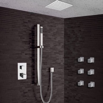 Chrome Thermostatic Shower System with 13