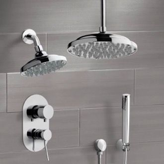 Shower Faucet Chrome Dual Shower Head System With Hand Shower Remer DCS01