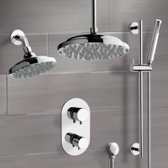 Chrome Dual Shower Head System With Hand Shower Remer DCS04