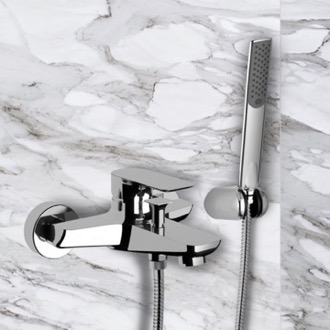 Tub Filler Wall-Mounted Bath Shower Mixer With Bracket And Hand Shower In Chrome Remer I02US