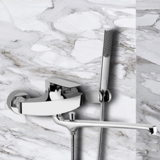 Chrome Wall Mount Tub Faucet with Long Swivel Spout and Hand Shower Remer I49