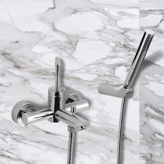 Tub Filler Single-Lever Bath Mixer With Hand Shower and Bracket In Chrome Finish Remer J02