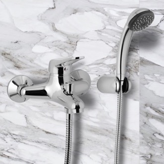 Tub Filler Wall Mounted Single-Lever Bath Mixer With Bracket and Hand Shower Remer K02
