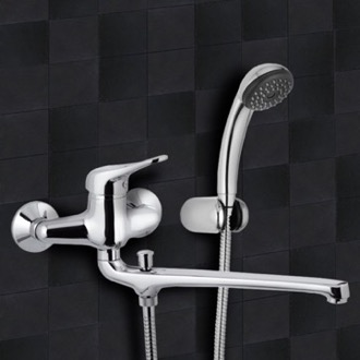 Chrome Wall Mount Tub Faucet with Long Swivel Spout and Hand Shower Remer K49
