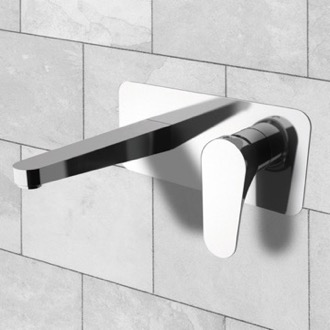 Bathroom Faucet Rectangular Wall Mounted Basin Mixer With Single Lever Remer L15US
