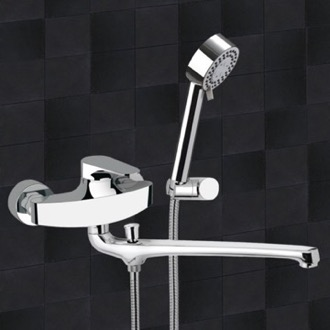 Tub Filler Basin and Bath Single Lever Mixer With Hand Shower and Bracket Remer L49US