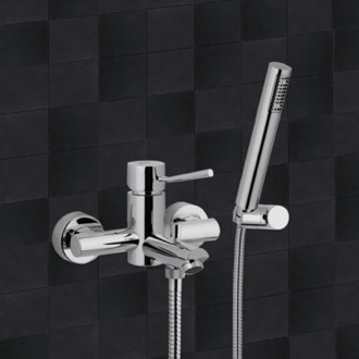 Tub Filler Bath and Shower Mixer With Hand Shower and Bracket In Chrome Finish Remer N02