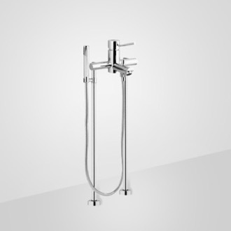 Tub Fillers Chrome Floor Mount Tub Filler with Hand Held Shower Remer N02XL