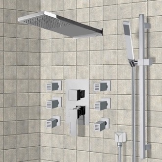 Chrome Shower System with Rain Shower Head, Hand Shower, and Body Sprays Remer S11