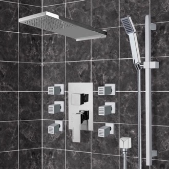 Chrome Shower System with Rain Shower Head, Hand Shower, and Body Sprays Remer S12