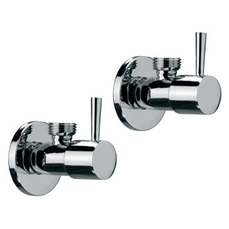 Pair Of Angle Valves With Lever Available In Three Finishes Remer SA500L