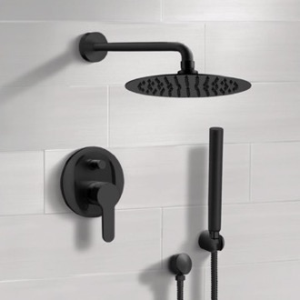 Matte Black Shower System With Rain Shower Head and Hand Shower Remer SFH34