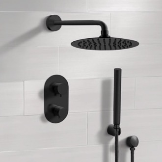 Matte Black Thermostatic Shower System with Rain Shower Head and Hand Shower Remer SFH35