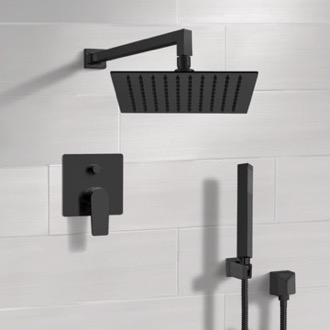 Matte Black Shower Set With Rain Shower Head and Hand Shower Remer SFH36
