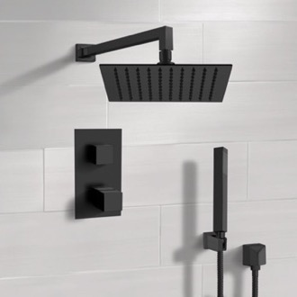 Matte Black Thermostatic Shower Set with Rain Shower Head and Hand Shower Remer SFH37