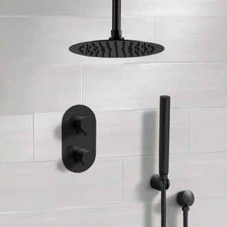 Matte Black Thermostatic Ceiling Shower System with Rain Shower Head and Hand Shower Remer SFH38