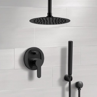 Shower Faucet Matte Black Ceiling Shower System With Rain Shower Head and Hand Shower Remer SFH39