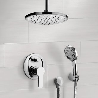 Chrome Shower System with Rain Ceiling Shower Head and Hand Shower Remer SFH40