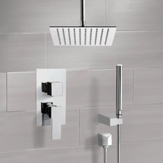 Chrome Ceiling Shower System With Rain Shower Head and Hand Shower Remer SFH42