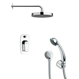 Shower Faucet Polished Chrome Round Shower Faucet with Hand Shower Remer SFH6146