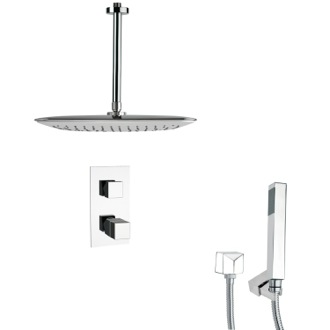 Shower Faucet Thermostatic Polished Chrome Shower Faucet with Handheld Shower Remer SFH6400