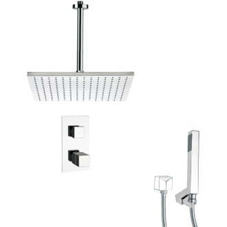 Shower Faucet Thermostatic Polished Chrome Shower Faucet with Handheld Shower Remer SFH6401