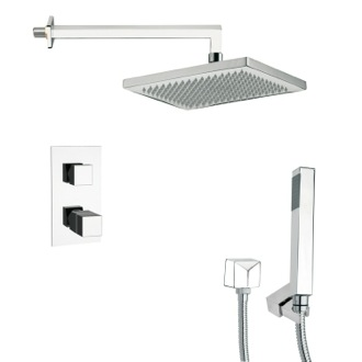 Shower Faucet Thermostatic Polished Chrome Shower Faucet with Handheld Shower Remer SFH6402