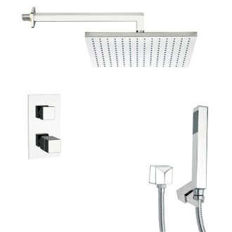Shower Faucet Thermostatic Polished Chrome Shower Faucet with Handheld Shower Remer SFH6403