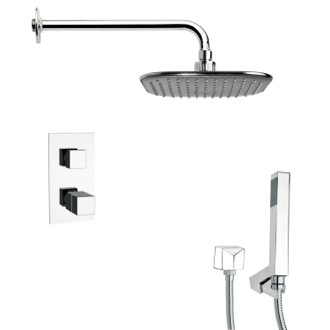 Shower Faucet Thermostatic Square Polished Chrome Shower Faucet with Handheld Shower Remer SFH6404