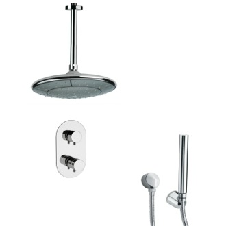 Shower Faucet Polished Chrome Thermostatic Shower Faucet with Hand Shower Remer SFH6406