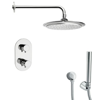 Shower Faucet Polished Chrome Thermostatic Shower Faucet with Hand Shower Remer SFH6407