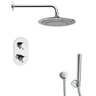 Shower Faucet Polished Chrome Thermostatic Shower Faucet with Hand Shower Remer SFH6408