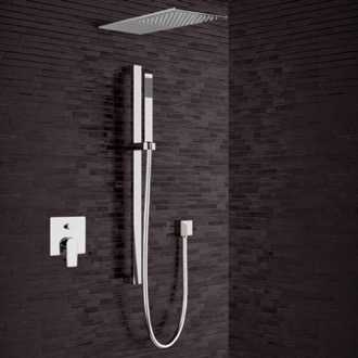 Chrome Shower System with Sleek Rain Shower Head and Hand Shower Remer SFR29