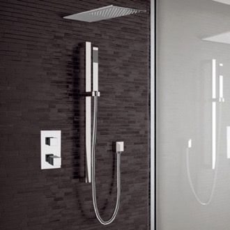 Chrome Thermostatic Shower System with Sleek Rain Shower Head and Hand Shower Remer SFR30