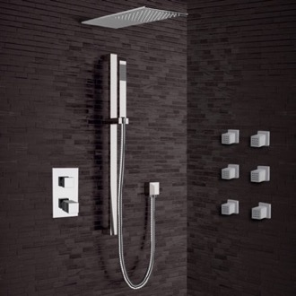 Chrome Thermostatic Shower System with Sleek Rain Shower Head and Hand Shower Remer SFR31