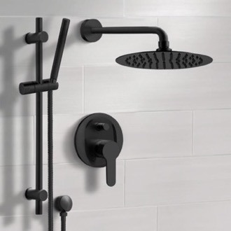 Matte Black Shower System With Rain Shower Head and Hand Shower Remer SFR44