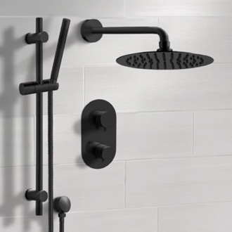 Matte Black Thermostatic Shower System with Rain Shower Head and Hand Shower Remer SFR45