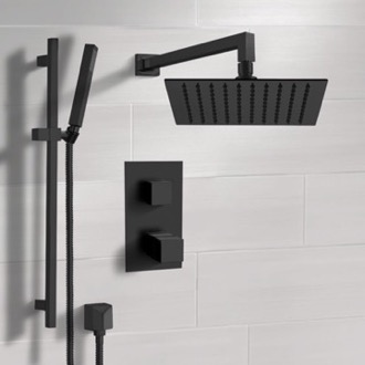 Matte Black Thermostatic Shower Set with Rain Shower Head and Hand Shower Remer SFR47