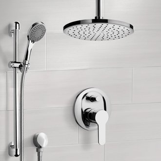 Shower Faucet Chrome Shower Set with Rain Ceiling Shower Head and Hand Shower Remer SFR48