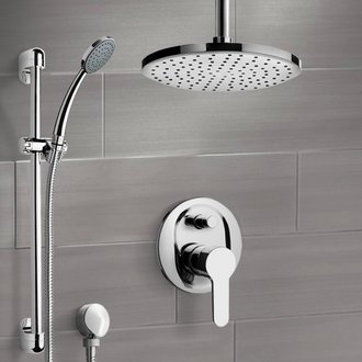 Chrome Shower Set with Rain Ceiling Shower Head and Hand Shower Remer SFR49