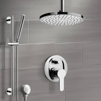 Chrome Shower Set with Rain Ceiling Shower Head and Hand Shower Remer SFR50