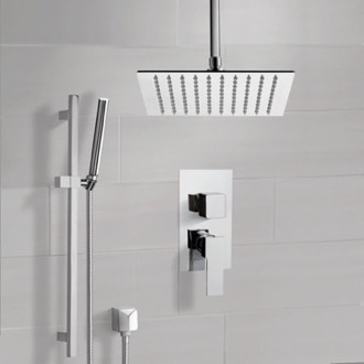 Chrome Ceiling Shower System With Rain Shower Head and Hand Shower Remer SFR51
