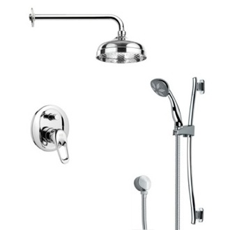 Shower Faucet Modern Chrome Round Rain Shower Faucet Set Remer SFR7027