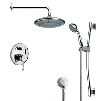 Shower Faucet Modern Chrome Round Rain Shower Faucet with Slide Rail Remer SFR7031