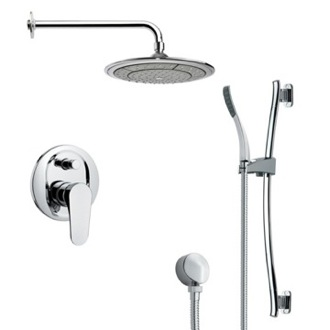 Shower Faucet Modern Chrome Round Rain Shower Faucet with Hand Shower Remer SFR7040