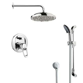 Shower Faucet Round Polished Chrome Rain Shower Faucet Set Remer SFR7050